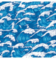 storm waves seamless pattern raging ocean water vector image vector image