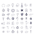 summer beach hand drawn symbols and objects vector image vector image