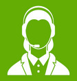 support phone operator in headset icon green vector image vector image