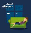 sweet dreams sleeping time icon vector image vector image