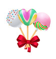 sweet present with realistic red bow vector image vector image