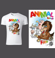 t-shirt design with cartoon farm animals vector image vector image