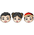 Three heads of Asian people vector image vector image