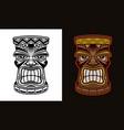 tiki hawaiian tribal wooden head vector image