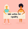 two women holding a banner vector image vector image