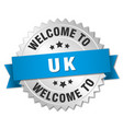 uk 3d silver badge with blue ribbon vector image vector image