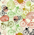 Vintage bicycles seamless pattern pastel green vector image vector image