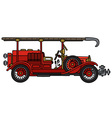 Vintage fire truck vector image