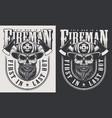 vintage firefighter emblems vector image vector image