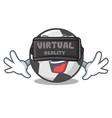 virtual reality soccer ball in a cartoon basket vector image