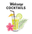 welcome cocktails glass of cocktail background vec vector image vector image