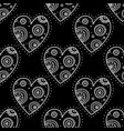 white boho ornamental hearts on black background vector image vector image
