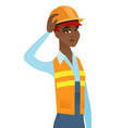 young african-american builder scratching head vector image vector image