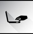 Man hand on laptop keyboard vector image