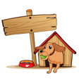 a dog with doghouse beside an empty signage vector image