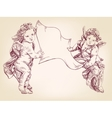 angels or cupid are holding a blank sheet of vector image vector image