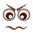 angry emogy face kawaii character vector image