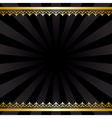 background with gold decorations and rays - black vector image vector image
