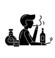 bad habits black icon sign on isolated vector image