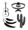 black and white 4 mexican elements vector image vector image