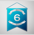 blue pennant with inscription six years vector image vector image