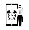businessman and mobile clock alarm vector image vector image