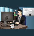 businessman working on his computer vector image vector image