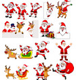 cartoon santa claus collection set vector image vector image