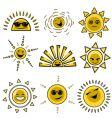 cartoon sun designs vector image