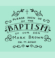 christian hand lettering quotes baptism with cross vector image