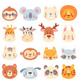 cute animal faces color animal portraits vector image vector image