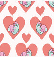 cute bunny hug hearts seamless repeat vector image vector image