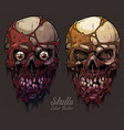detailed graphic colorful human skulls set vector image vector image