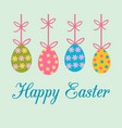 easter greeting card with colorful decorated vector image vector image