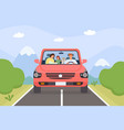 family in car parents kid and pet on weekend vector image vector image