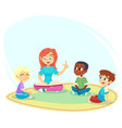 female teacher read book children sit on floor in vector image