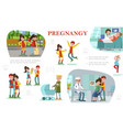flat pregnancy colorful composition vector image vector image