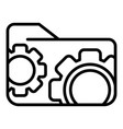 gear folder icon outline style vector image vector image
