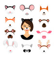 girls animals masks set vector image
