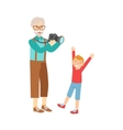Grandfather And Grandson Taking PicturesPart Of vector image vector image
