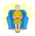 grandma read book on chair vector image