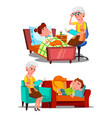 grandmother reading nighttime story book vector image vector image
