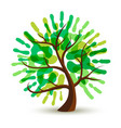 green human hand print tree for ecology help vector image vector image