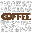 hand drawn doodle coffee set vector image