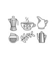 hand drawn kitchen utensils coffee themed vector image vector image