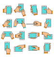 hand gesture on touch screen vector image vector image