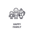 happy family line icon outline sign linear vector image vector image