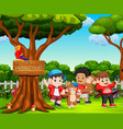 happy kids and monkey playing in beautiful nature vector image vector image