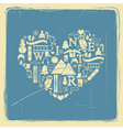 heart from winter icons vintage vector image