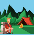 man tourist in camping zone vector image